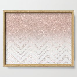 Modern faux rose gold glitter ombre modern chevron stitches pattern Serving Tray