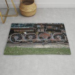 Rusting Drive Wheels of Vintage Steam Train Locomotive Rug