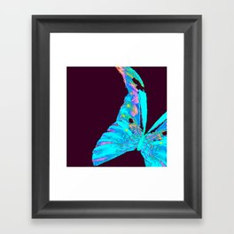 Turquoise Butterfly On A Dark Background #decor #buyart #society6 Framed Art Print