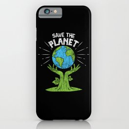 Retro Vintage Save Our Planet Plant Tree Earth Day iPhone Case