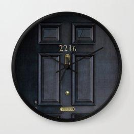 Haunted black door with 221b number Wall Clock