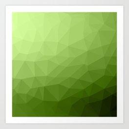 Greenery ombre gradient geometric mesh Art Print