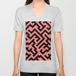Black and Coral Pink Diagonal Labyrinth Unisex V-Neck