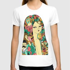 Girl with Tattoo Womens Fitted Tee White MEDIUM