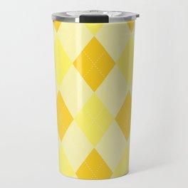 Yellow Argyle Pattern Travel Mug