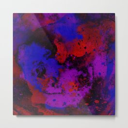 Colour Warfare - Abstract, red, blue, black and purple painting Metal Print