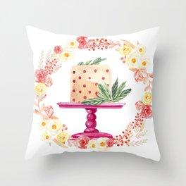 Cake Wreath Rose Polka Dots Throw Pillow