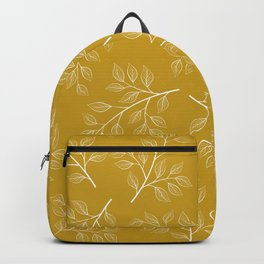 White Branch and Leaves on Mustard Yellow Backpack