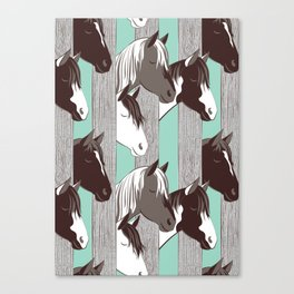 Waiting for the horse race // mint background Canvas Print