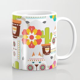 Cactus Flowers Cats-Cactus cat and Flowers mexican Art, Mexican Art, Colorful art Coffee Mug