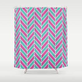 Pink and Teal Herringbone Pattern Shower Curtain