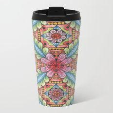 Flower Design Metal Travel Mug