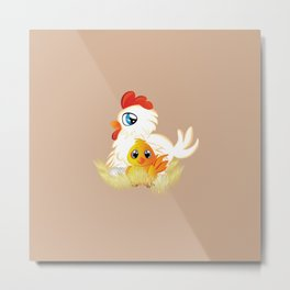 White hen with chicken Metal Print
