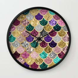 Mermaid Colorful Rainbow Scales Gold Wall Clock