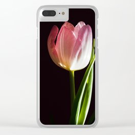 Macro pink tulip Clear iPhone Case