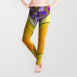 SPRING PURPLE PANSY FLOWERS & YELLOW BUTTERFLIES GARDEN Leggings