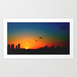 rainbow sunset Art Print