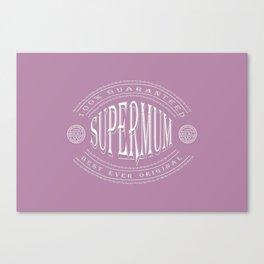 100% Best Ever Original Supermum (white/pastelpink 3D effect embossed badge) Canvas Print