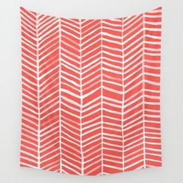 Coral Herringbone Wall Tapestry