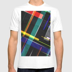 Line Pattern Mens Fitted Tee White MEDIUM