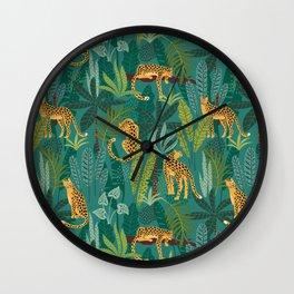 Preppy Tropical Leopard Jungle Scene Wall Clock