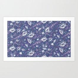 Seashells Sea Shells Underwater Pattern Paper Collage Navy Art Print