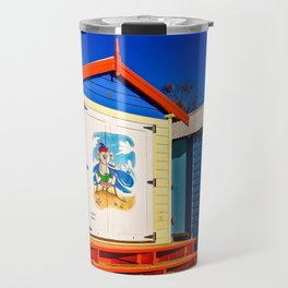 Iconic brightly coloured wooden beach huts from the early 1900s. Brighton Beach. Melbourne. Aust Travel Mug