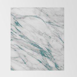 Gray Marble Aqua Teal Metallic Glitter Foil Style Throw Blanket