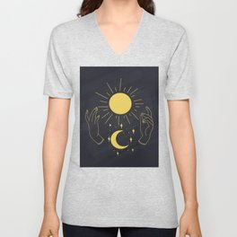 Hands Holding Sun Ray And Moon Crescent, Minimal Wall Art Unisex V-Neck
