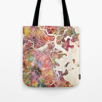 boston map Tote Bags featuring Boston map by Map Map Maps