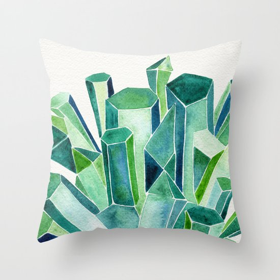Emerald Watercolor Throw Pillow By Cat Coquillette Society6