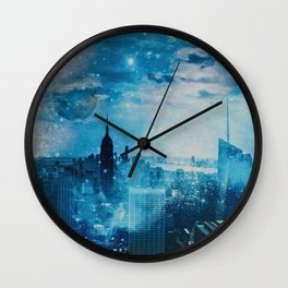 New York City Blue Night Moon Mixed Media Art Wall Clock