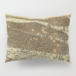 Vintage Pictorial Map of NYC and Brooklyn (1892) Pillow Sham