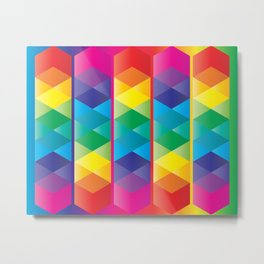 Rainbow Cube Metal Print