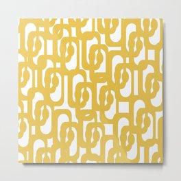 Mustard Yellow and White Mid-century Modern Loop Pattern Metal Print