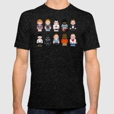 Pixel Pulp Fiction Characters Mens Fitted Tee Tri-Black LARGE