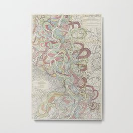 Beautiful Map of the Lower Mississippi River Metal Print