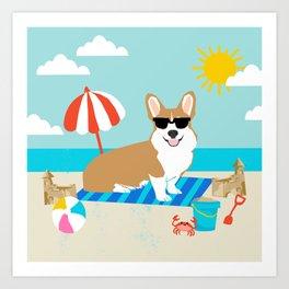 Corgi Summer Beach Day Sandcastles Dog Art Art Print