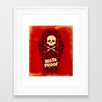 movie posters Framed Art Prints featuring Death Proof - Movie Posters by Joel Amat Güell