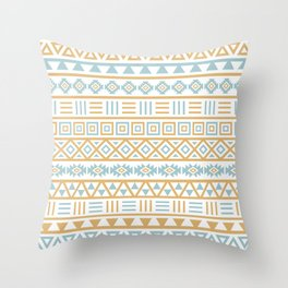 Aztec Influence Pattern Blue White Gold Throw Pillow