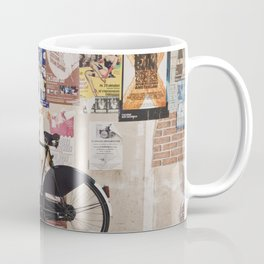 Classic Dutch bike on a postered wall Coffee Mug