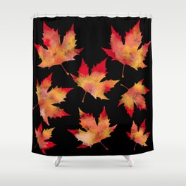 Maple leaves black Shower Curtain
