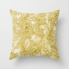 forest floor gold ivory Throw Pillow