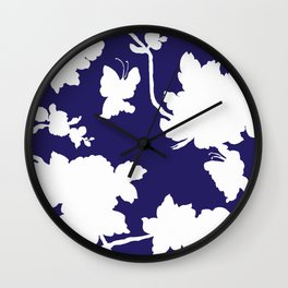 Chinoiserie Silhouette Navy Wall Clock