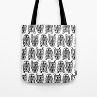 r2d2 Tote Bags featuring R2D2 by Kimberly Rhee
