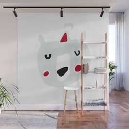 Cute holiday bear white Wall Mural