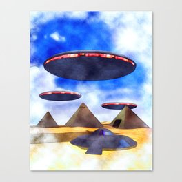 Ancient Aliens - UFO Pyramids Canvas Print