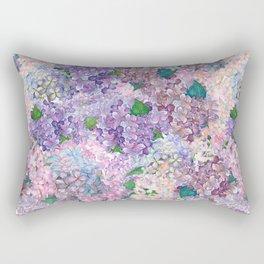 Purple and blue Lilac & Hydrangea - Flower Design Rectangular Pillow