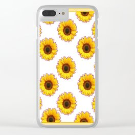 Yellow & White Sunflowers Art Black Pattern Clear iPhone Case
