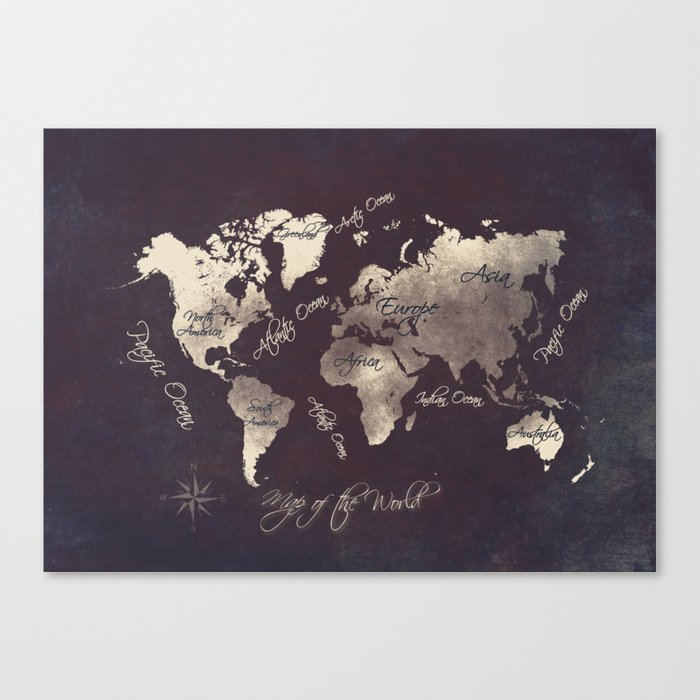 world map 18 Canvas Print